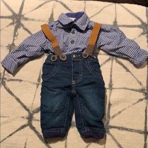 2piece jean suspenders and onesie plaid shirt